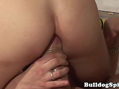 Pissing stud analfucking on the job