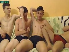 Group Twinks on Sofa Jerking On Webcam