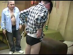 twink punished and fucked by two old men