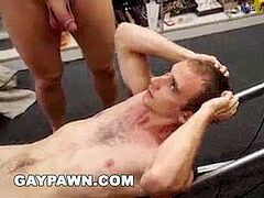 GAY PAWN - sport Trainer Gets buttfuck torn up By Two Employees