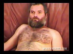 Burly bear gets cumshot after anal