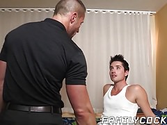 Muscular stepdad fucking and stuffing twinks lusty mouth