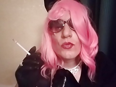 Sissy Mandy bitch in pink smoking vs120 in cuffs and gloves