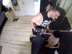 verbal dom uses enslaved cocksucker to piss and jizm