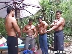 Bodybuilder latino at waterfalls