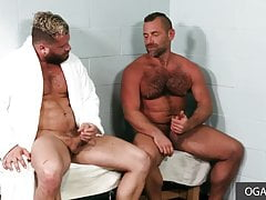Hairy muscular dudes plowing