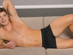 Anxious young hottie Chester jerks his hard dick
