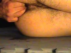 Cucumber deep inside metal dildo fuck