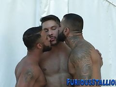 Bears with huge cocks pound ass in threesome