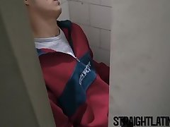 Straight latino blows and gets barebacked in shady bathroom