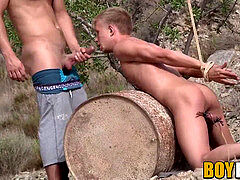Tied up lad predominated over by insane young maledom