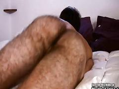 Extremely hairy babe shows how he jerks his prick