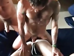Two gays fucking a moaning bitch