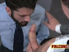 Rough gay business men going all in with hot kisses and anal sex