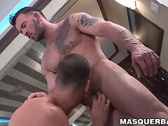 Pierced hunk has his cock sucked before ass penetration