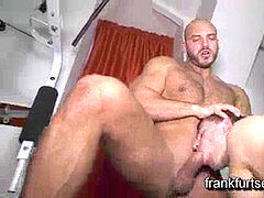 Horny private trainer gets romped by beautiful hairy bodybuilder in a gym