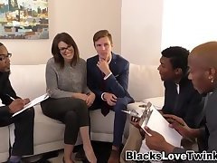 Interracial group facialize