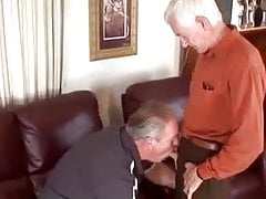 Two old grandpa playing with each other