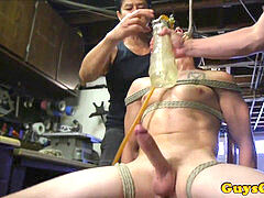 bdsm marionette tied up and toyed before draining