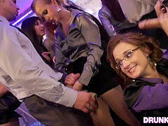 Boozed pecker hungry damsels in the club
