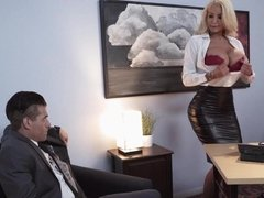 Nicolette Shea catches boss on the phone sex line 5 & fucks him in the office