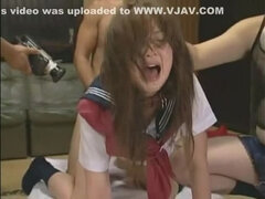 Hottest Japanese chick Sara Tsukigami in Amazing Gangbang JAV movie