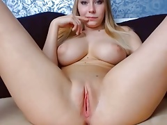 Blond big natural boobs tits tight pink shaved pussy