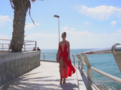 Naughty exhibitionist MILF - Red Dress on Public Beach