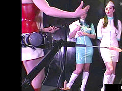 HN Rubberella teaches RubberDoll & Anastasia On bang Machines