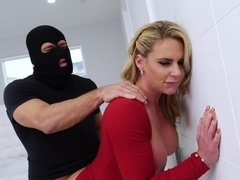 Busty blonde woman catches and fucks burglar