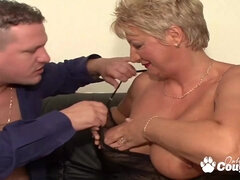 Huge breasts granny gets got laid by two massive dicks