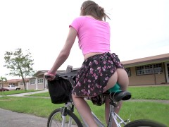 19yo Alex Blake rides the bike and flashes her ass