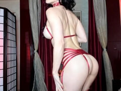 Tight MILF Red Dress & Lingerie Tease - Solo Clip