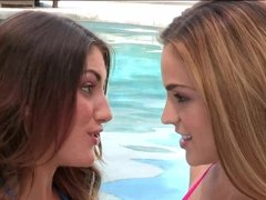Ryan Ryans and August Ames having some fun in the pool