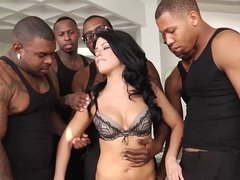 Adriana Chechik double penetrated in her first interracial gangbang