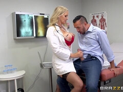 Slutty doctor in fishnets seduces a patient with her big tits