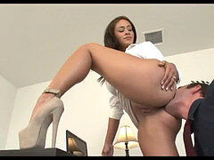 manager getting her ass slurped in stilettos