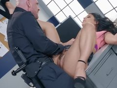 Gina Valentina fucking cop's huge dick & drains his balls dry