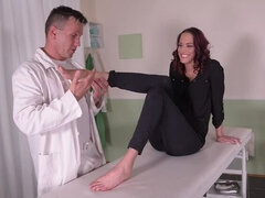 Fuck My Feet: Leggy Patient Gets Laid On Examination Table