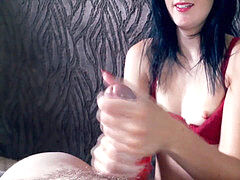 Girlfriend Gives a Sloppy Oily hand job Until He shoots a load, with Slo-Mo money-shot