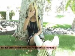 Innocent Blonde Jacking off Near A Tree Down