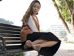 nice Chinese Teen Public Nylon soles taunt