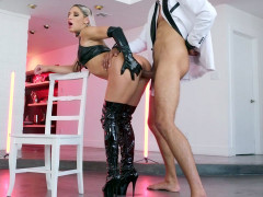 Abella Danger in leather outfit gets her pussy pounded standing