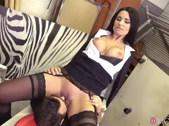 A Polish busty MILF in sexy thigh-highs sucks a cock and is fucked