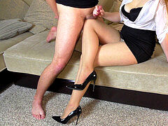 Teen School tutor female domination Handjob her student After college on High Heels