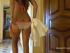Exhibitionist Lada - Beach Bikini - Big tits flashing outdoors