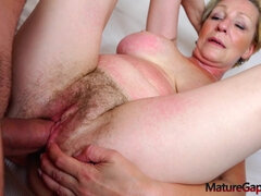 Hairy granny Antonia gaped and nailed by Kamil Klein