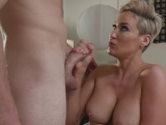 Busty MILF makes stepson forget about date taking cock in pussy