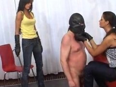 Chubby slave gone naked for humiliation and dick flogging