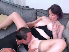 Cuni and warm hump with buxom mommy and pervert son